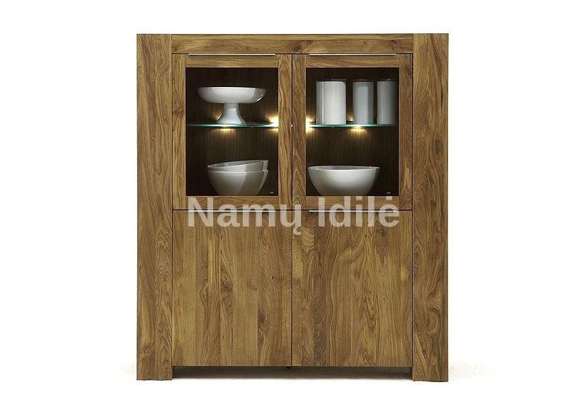 Medinė vitrina - indauja BONA. Masyvo mediniai baldai iš ąžuolo.