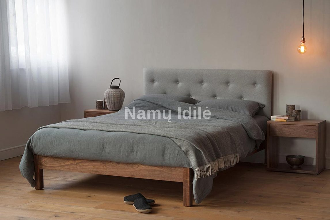 "Medinė lova ""KARMEN"". Masyvo mediniai baldai. Medinės lovos. Miegamojo lova."