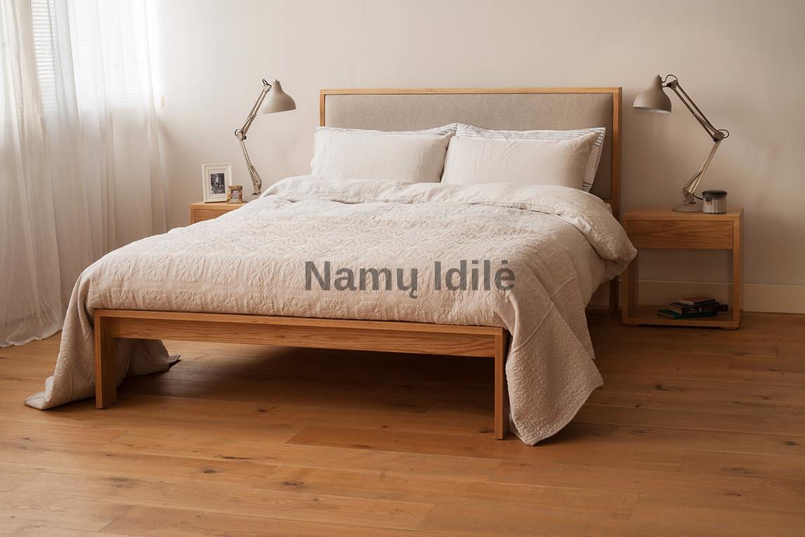 """Medinė lova """"MARGO"""". Masyvo mediniai baldai. Medinės lovos. Ąžuolinė lova."""