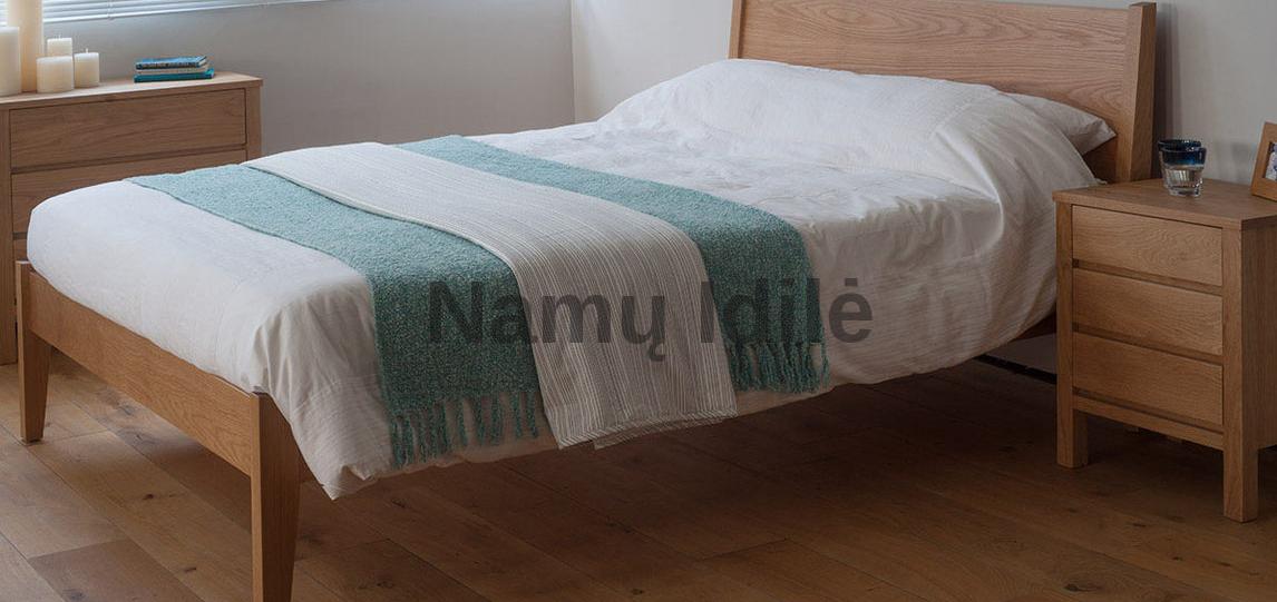 """Ąžuoliniai baldai. Medinė lova """"SARA"""". Masyvo mediniai baldai iš ąžuolo. Medinės lovos."""